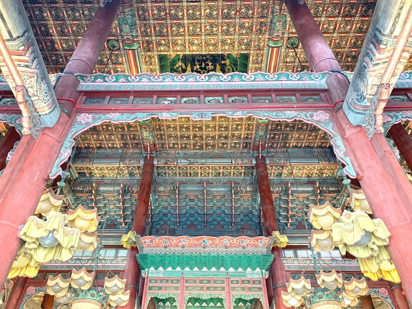 The intricate ceiling at Injeongjeon