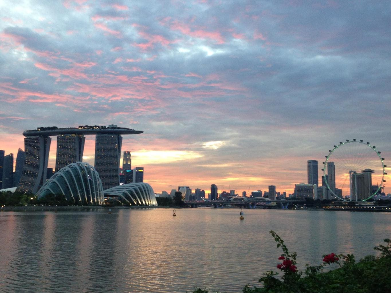 View over the Marina Bay area from Bay East Garden