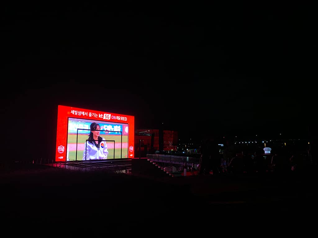 Yebit's glowing LED TV at night