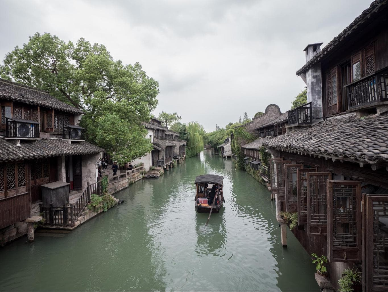 Floating along Wuzhen water town