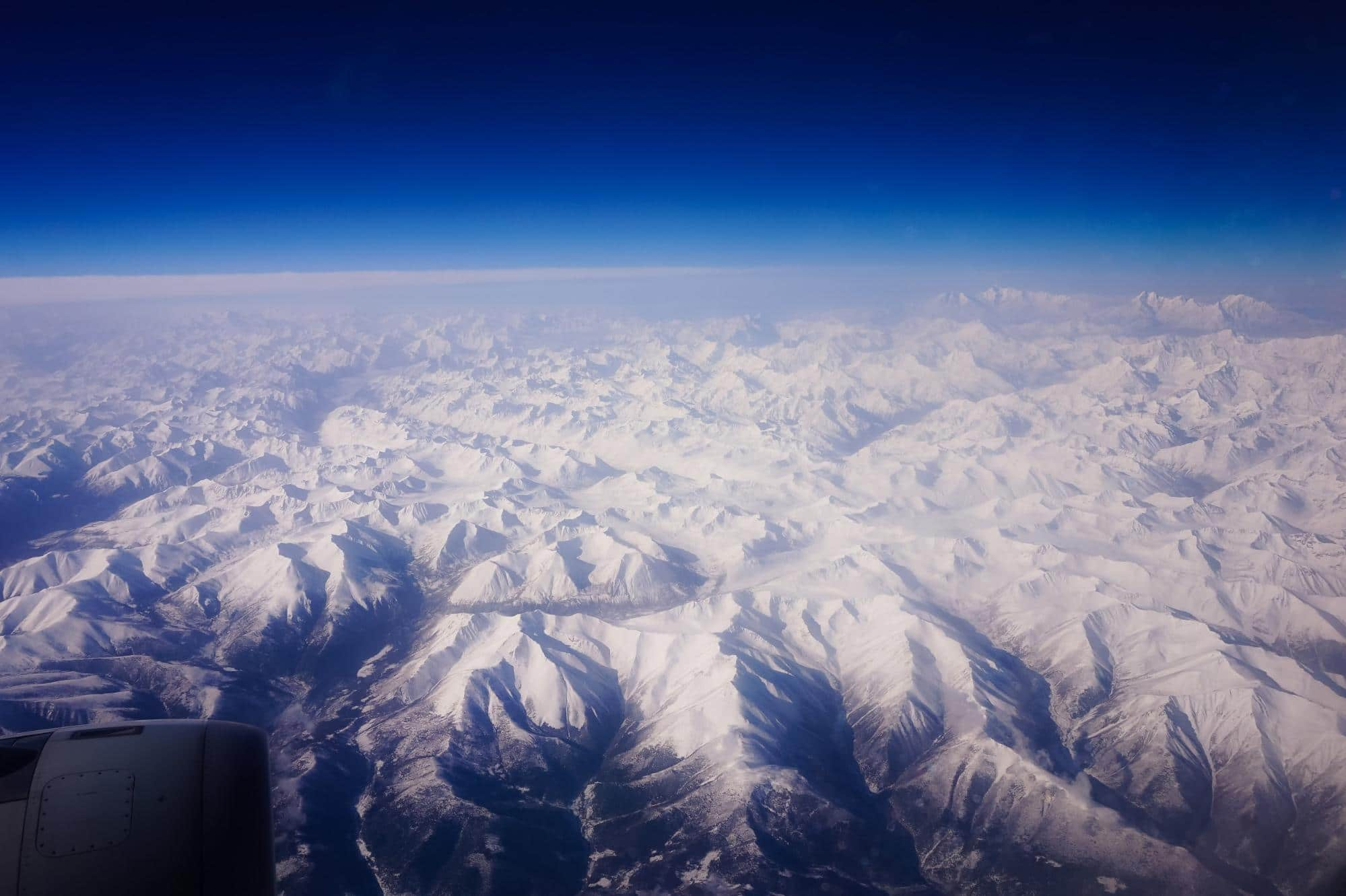 Flying over the Himalayas to Lhasa