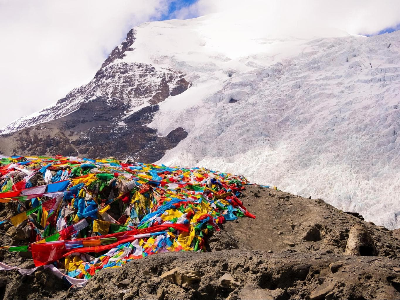 Glacier and prayer flags in Tibet