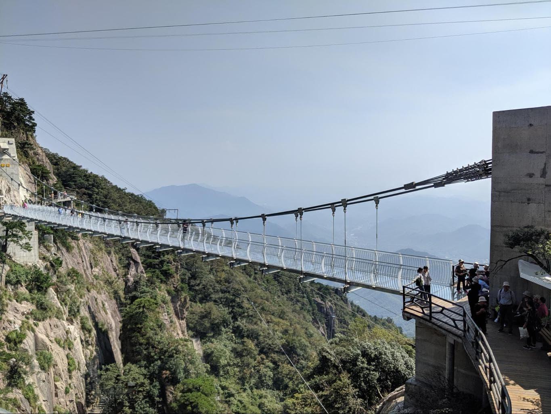 Glass-bottomed bridge in Sky Land in Anji Country