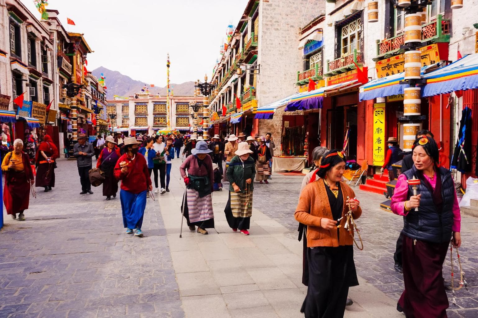 Local Tibetans on their daily kora in Lhasa