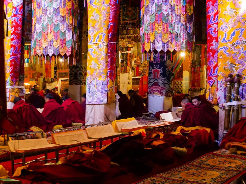 Monks studying at Tashilumpo Monastery
