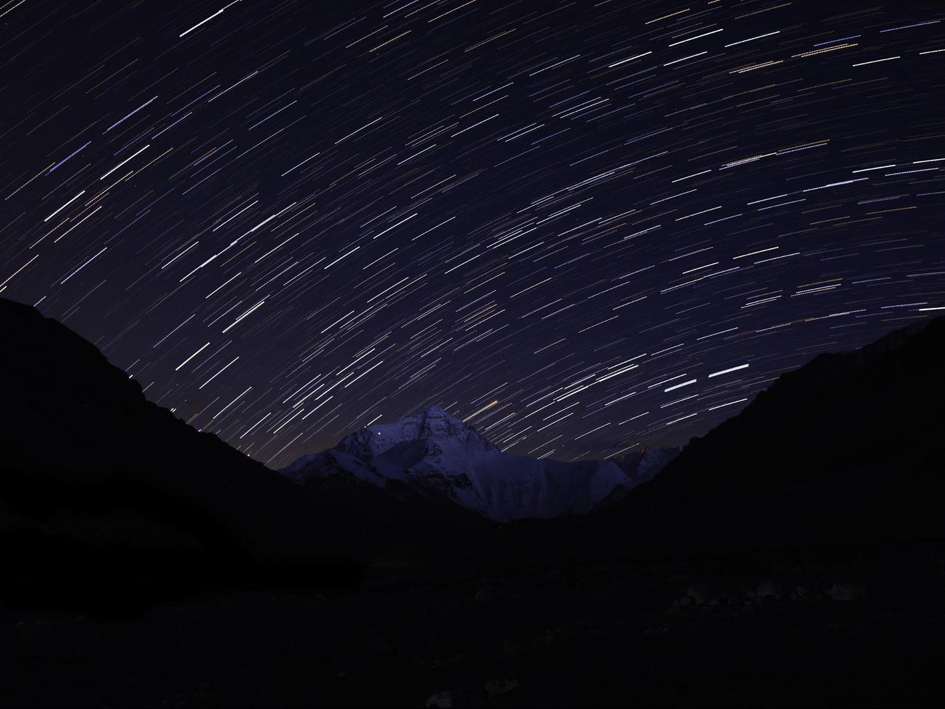 Star trails above Everest from the Tibetan based camp