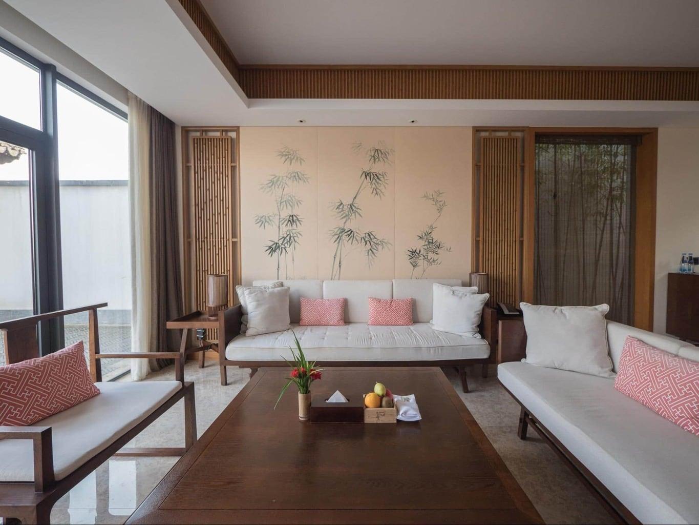 The living room at Alila Anji