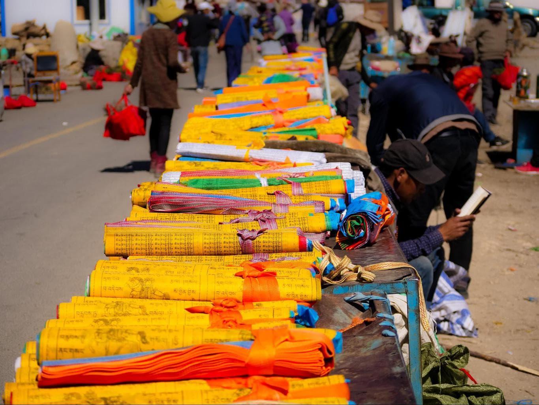 Tibetan prayer flags ready for sale