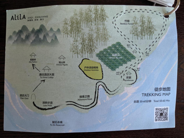 Trekking map at Alila Anji