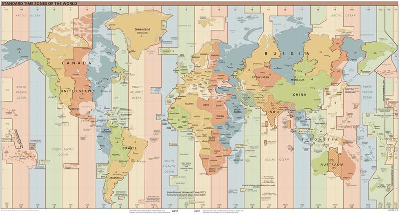 World's time zones. Source Wikimedia, Public Domain