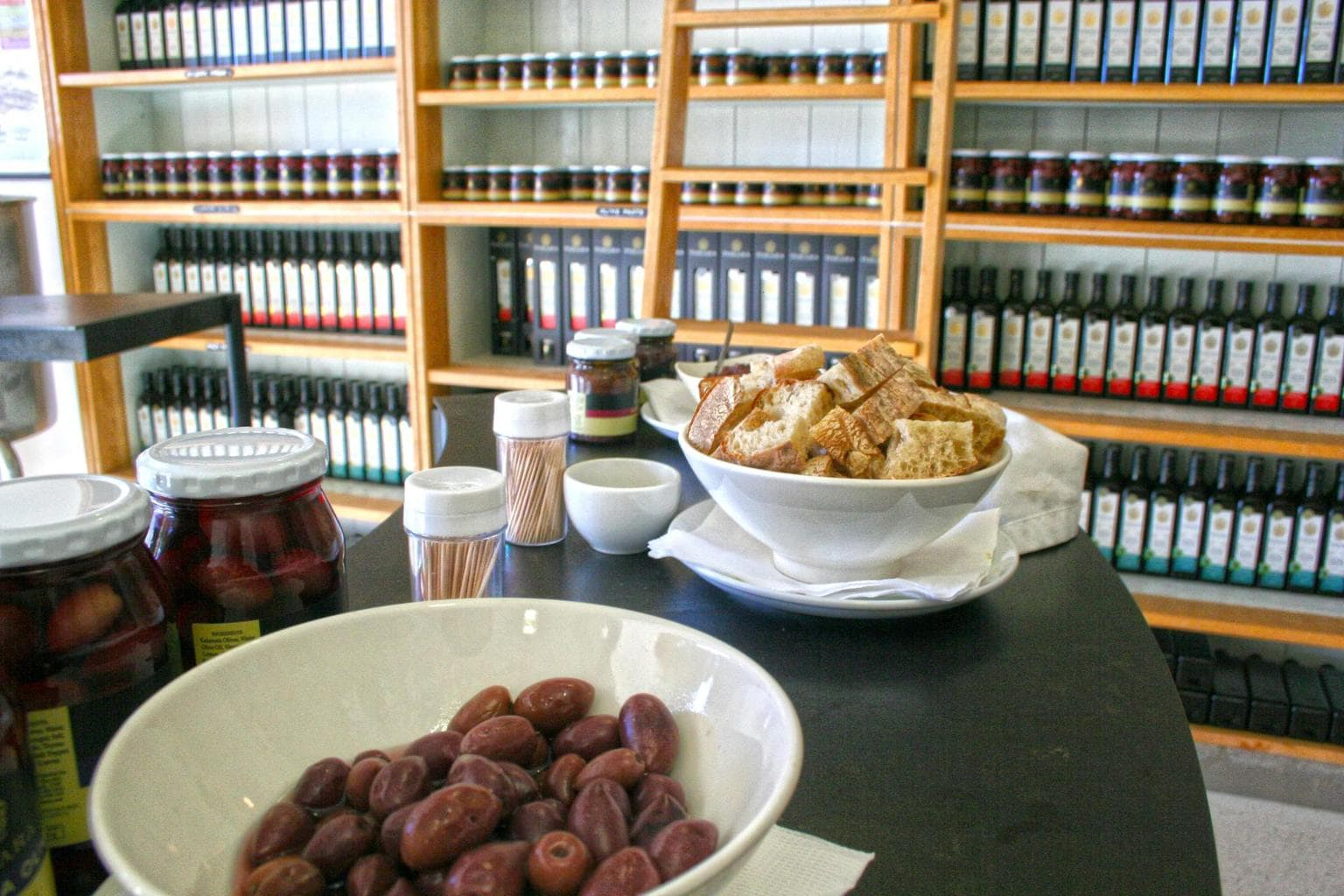Free olives at Tokara