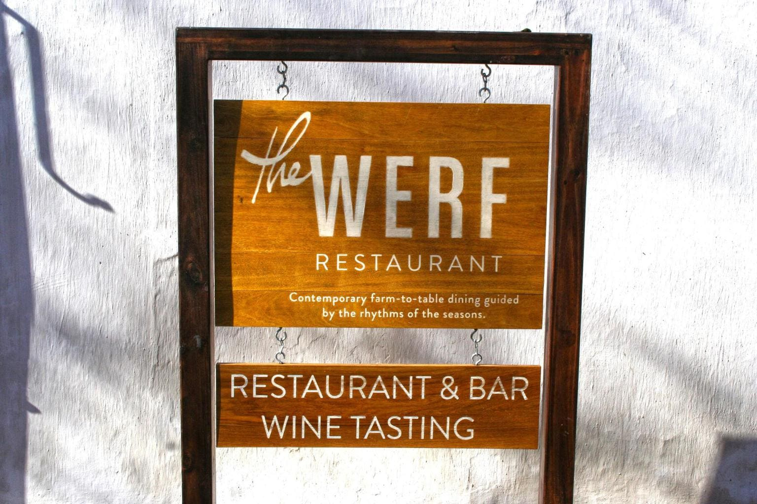 The Werf restaurant sign at Boschendal