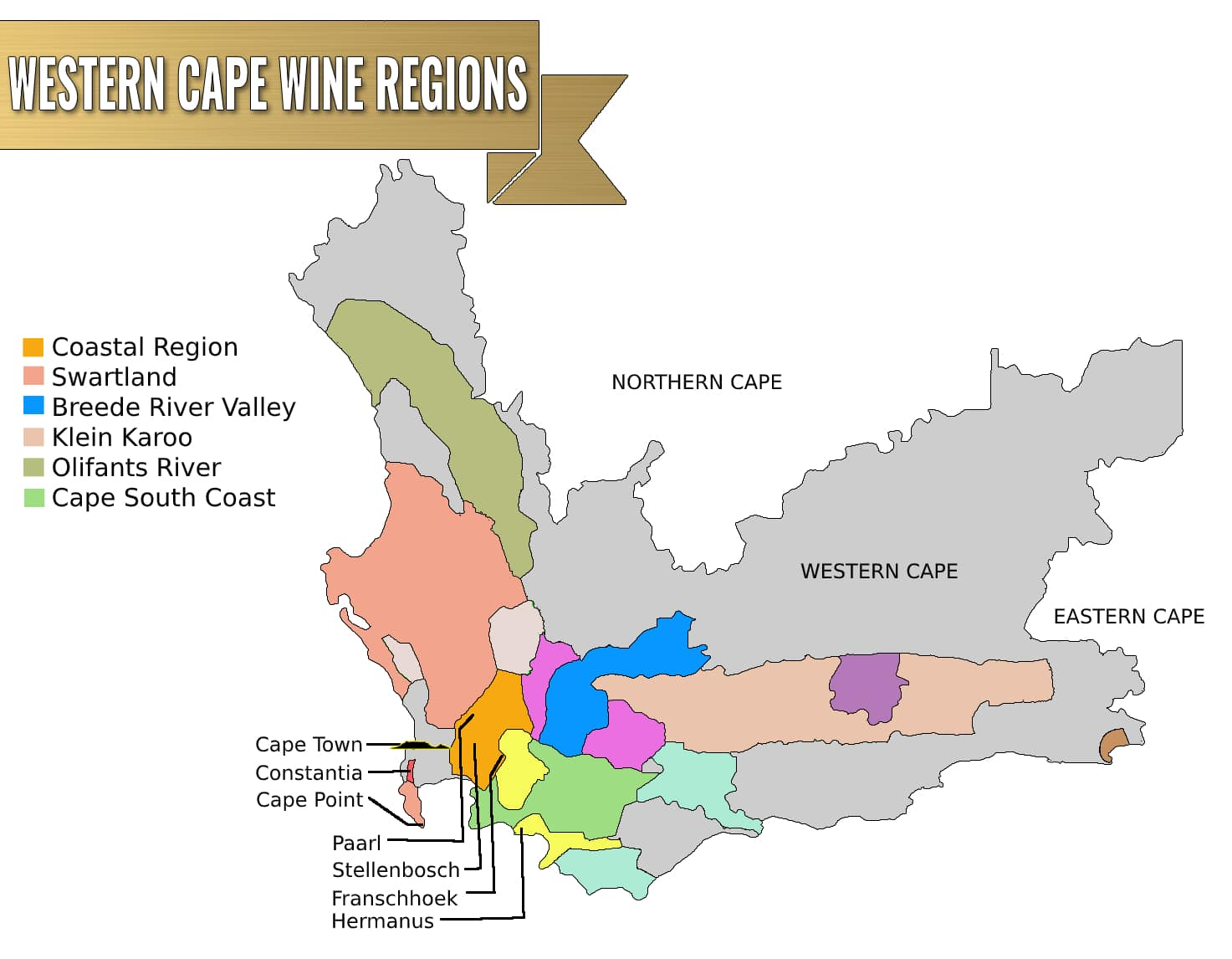 Wine regions in the Western Cape map