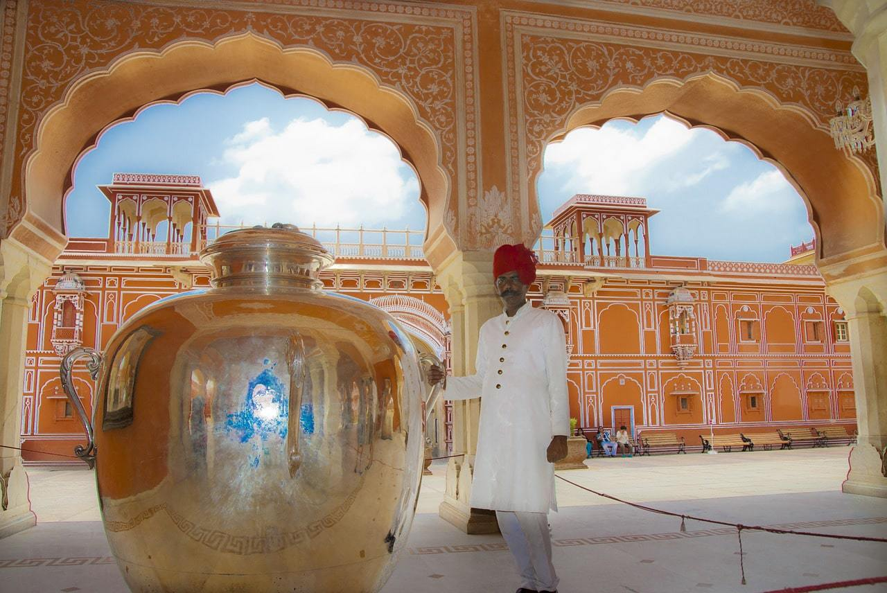 Gangajalis silver jars at The City Palace Jaipur