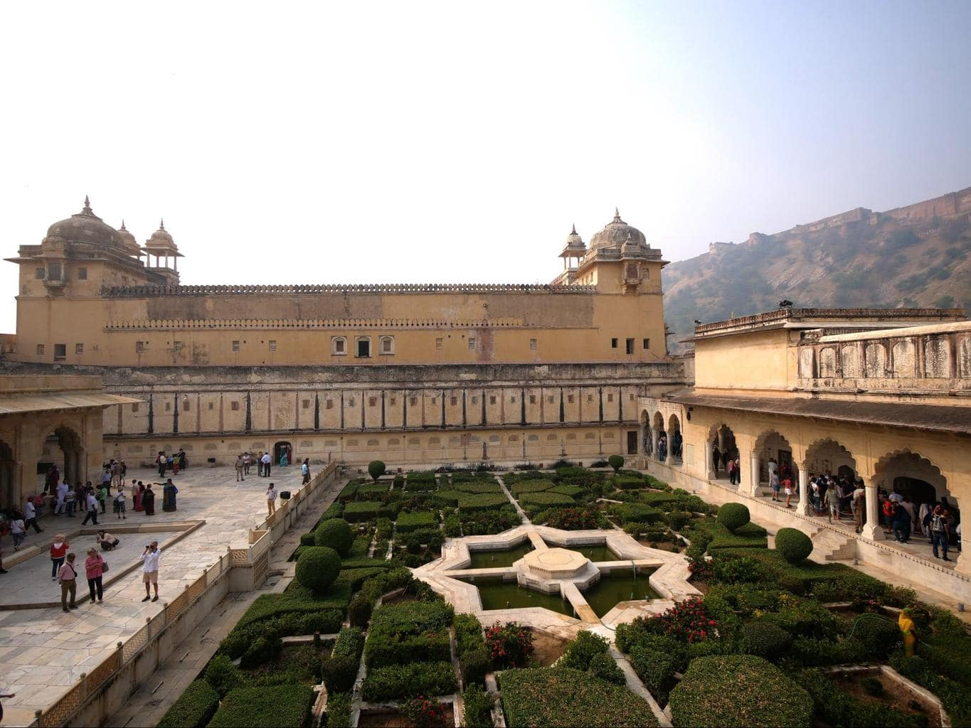 The Mughal gardens at Amer Fort