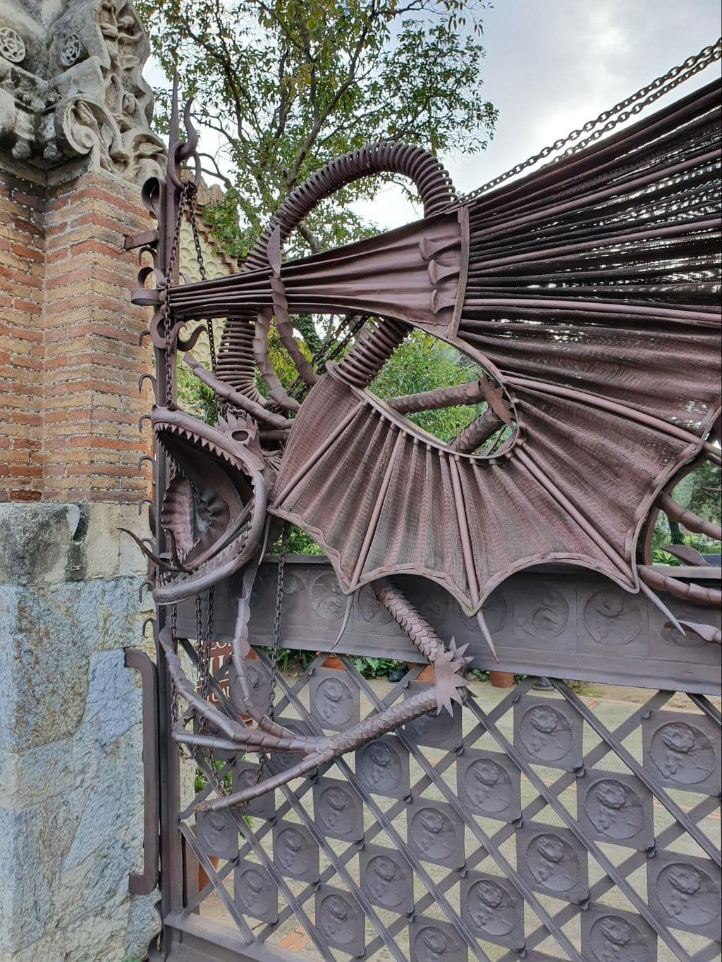 Detail of the Guell Pavilion dragon gate