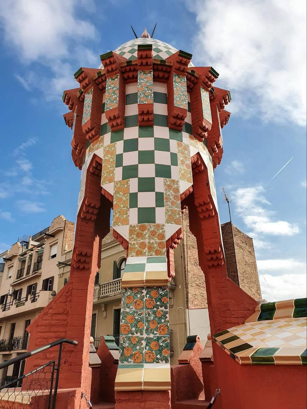 Neo-Mudejar elements on the roof of Casa Vicens
