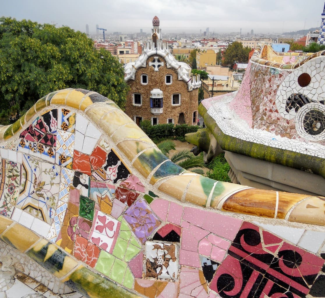 The benches in the restricted area of Park Guell