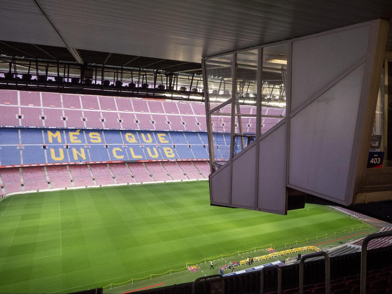 Barça's motto written on the seats of Camp Nou