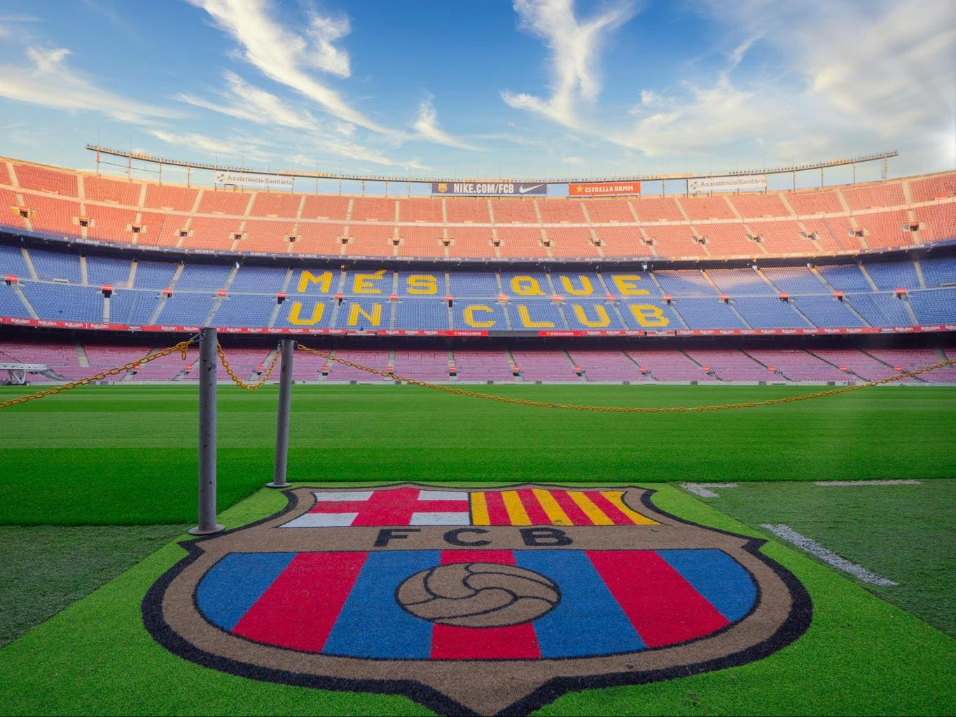 Camp Nou badge and stadium