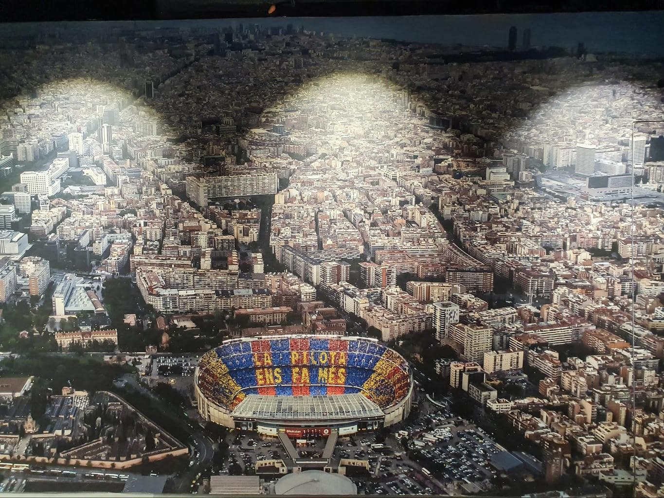 Camp Nou in the middle of Les Corts district