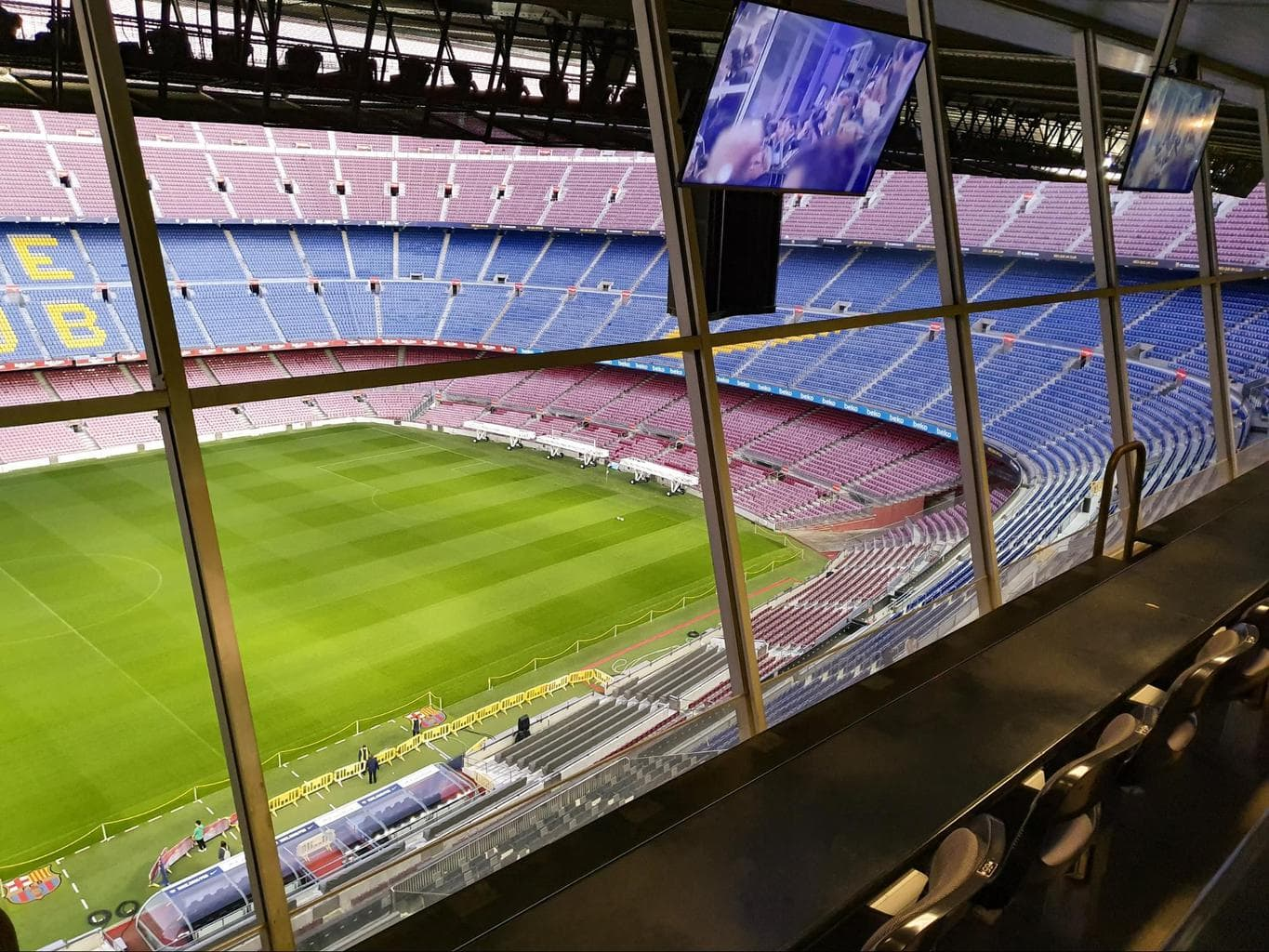 Camp Nou stadium seen from the media box