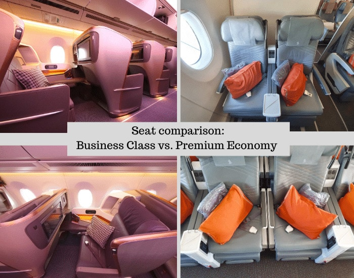 Comparison of seats on Singapore Airlines Business and Premium Economy