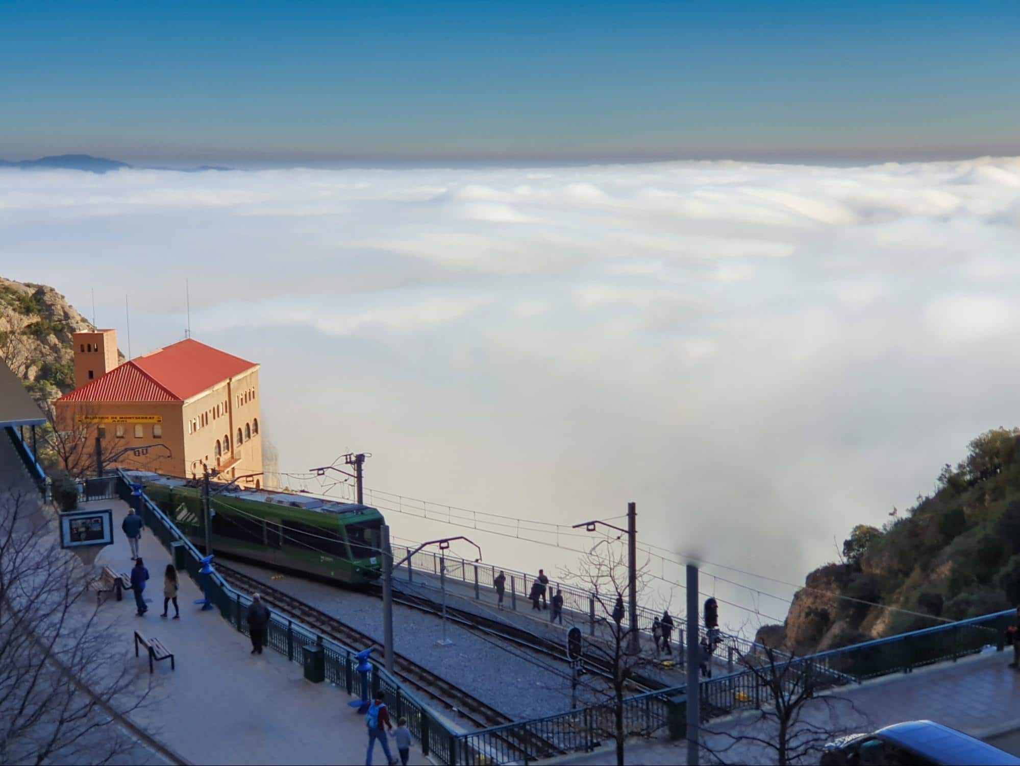 Cremallera train arriving in Montserrat