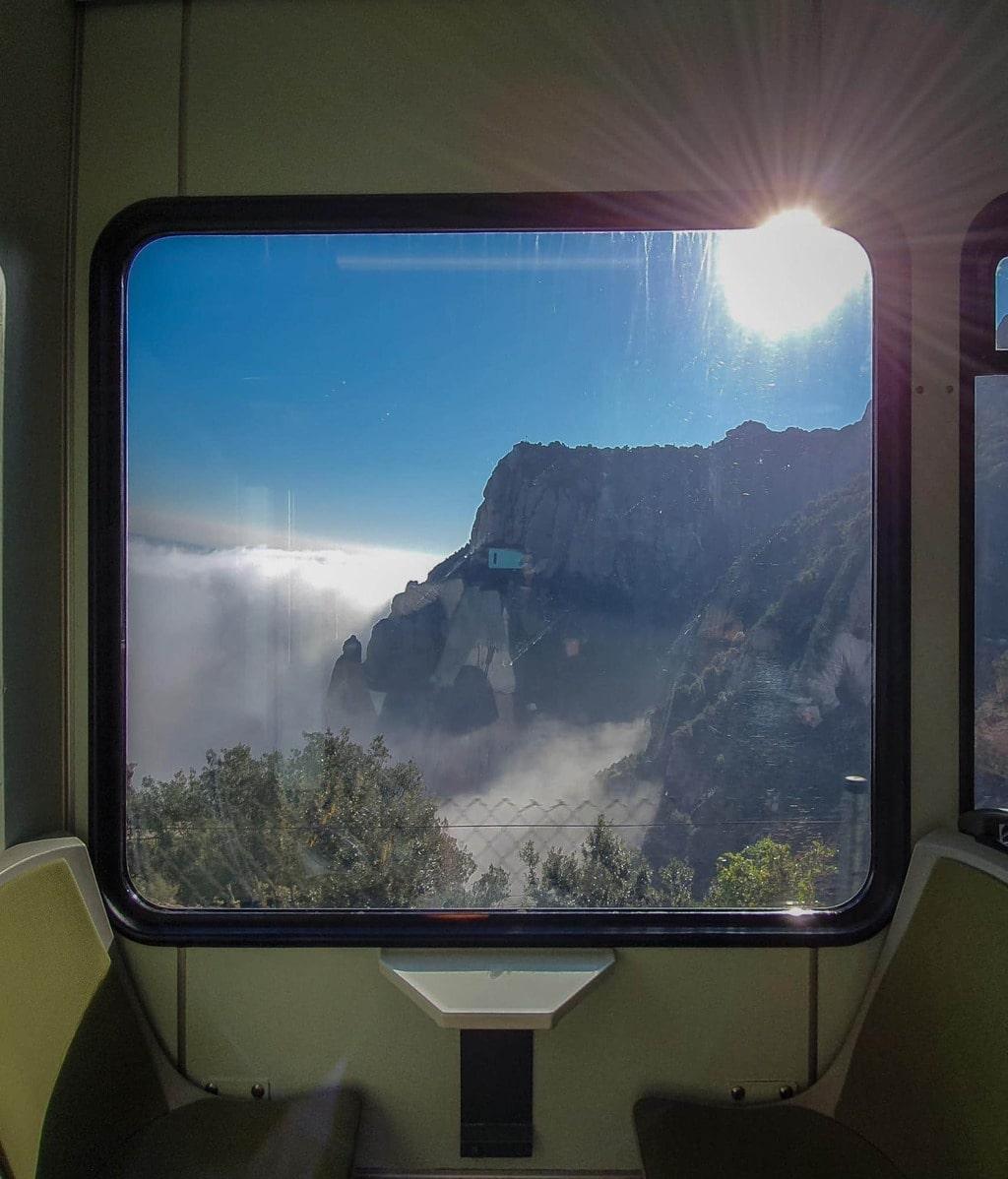 Cremallera train views arriving in Montserrat