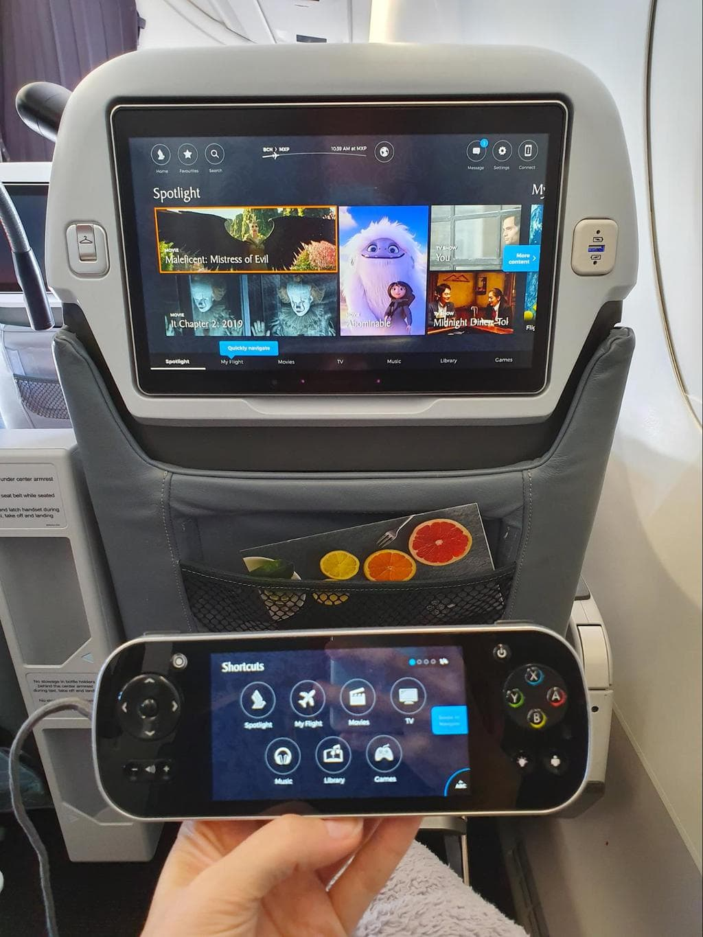 Entertainment system on Singapore Airlines Premium Economy