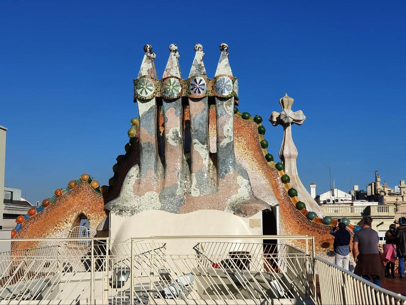 Gaudi's famous chimneys on the roof of Casa Batlló
