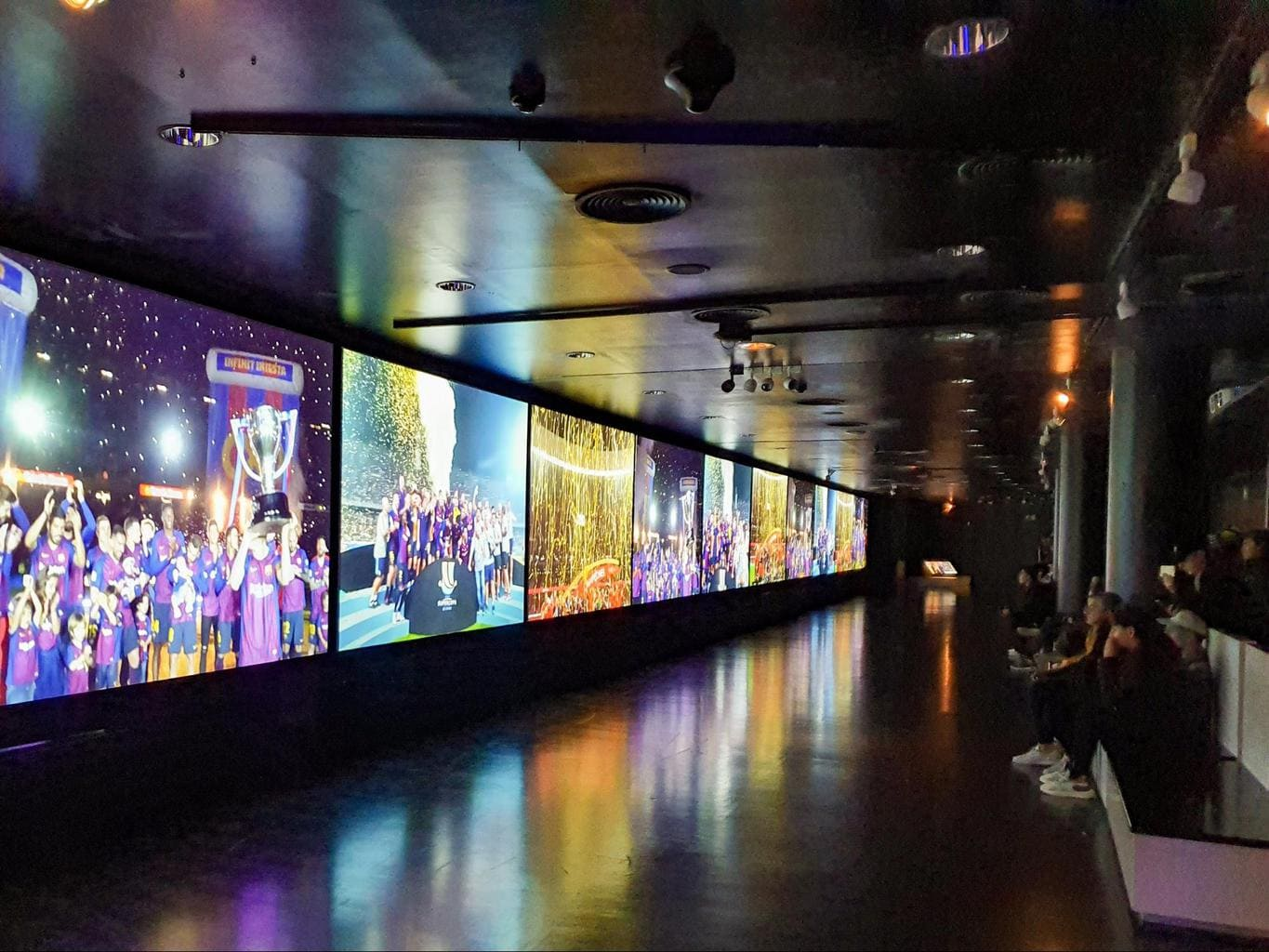 Huge screens display Barça's history