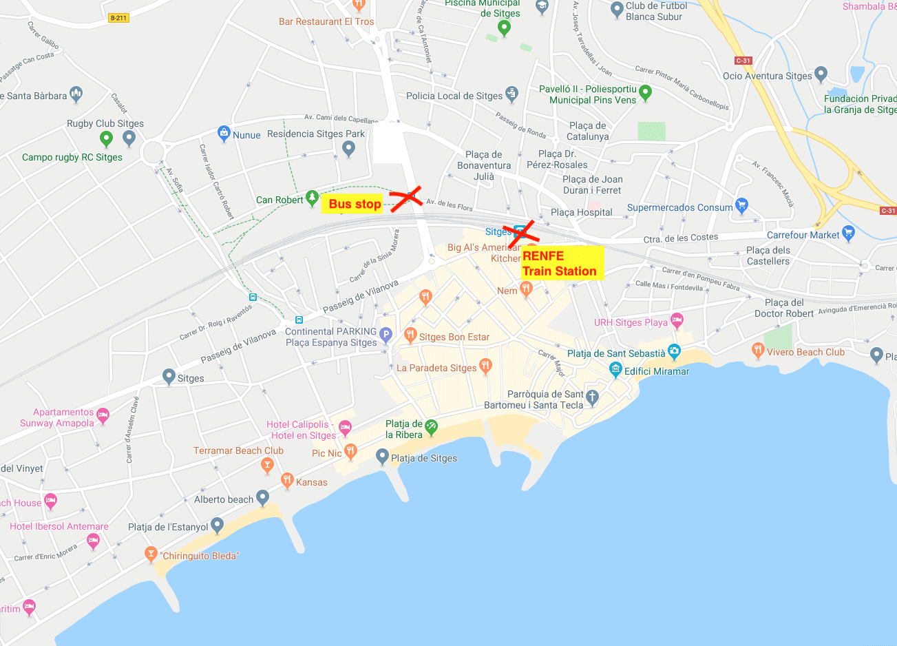 Map of bus stop and train station in Sitges