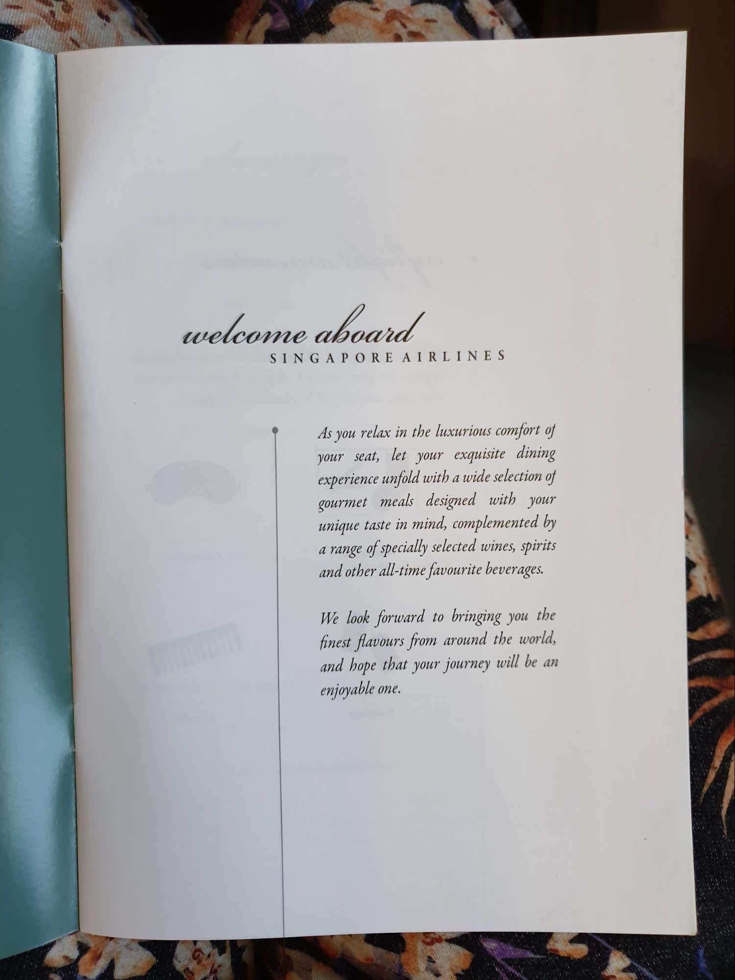 Singapore Airlines Premium Economy onboard menu