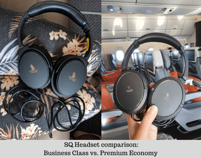 Singapore Airlines headset comparison Business Class and Premium Economy