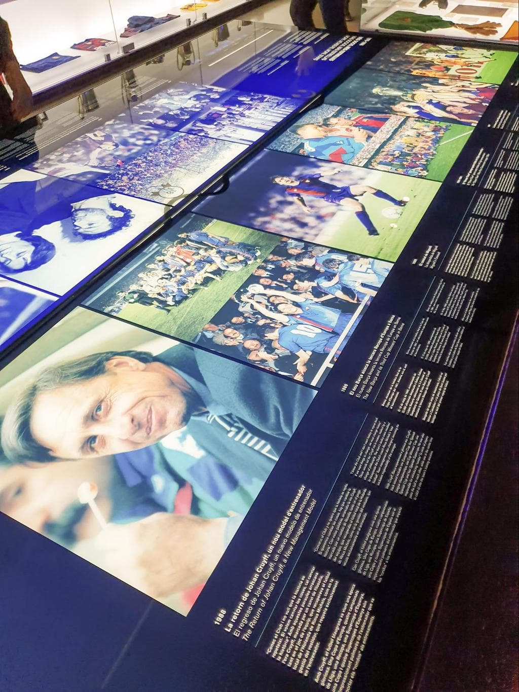 Some of the exhibits, objects and interactive screens at Camp Nou Museum 01
