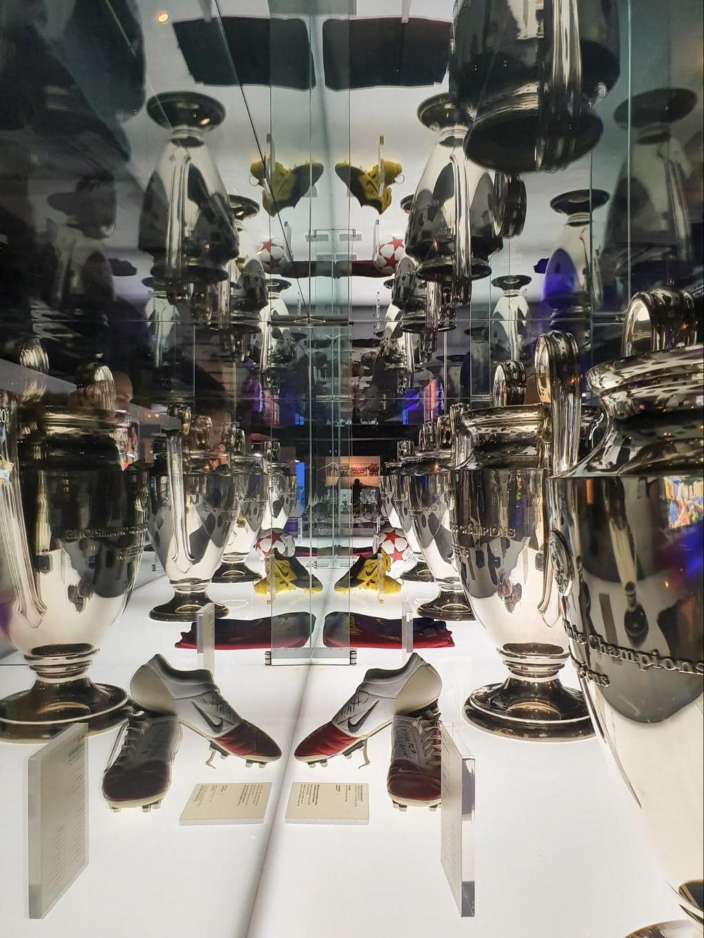 Some of the exhibits, objects and interactive screens at Camp Nou Museum 02