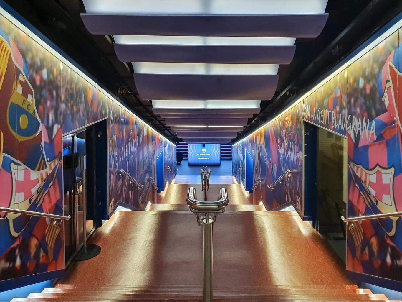 The player's corridor to access the field at Camp Nou