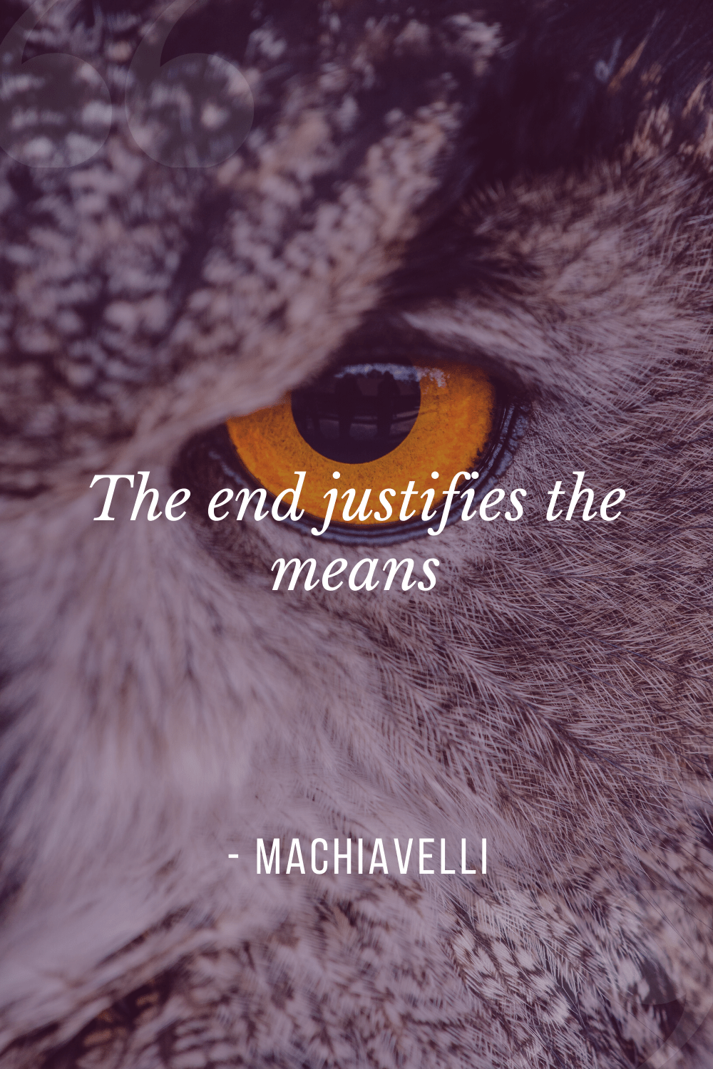 """The end justifies the means"", Niccolò Machiavelli"