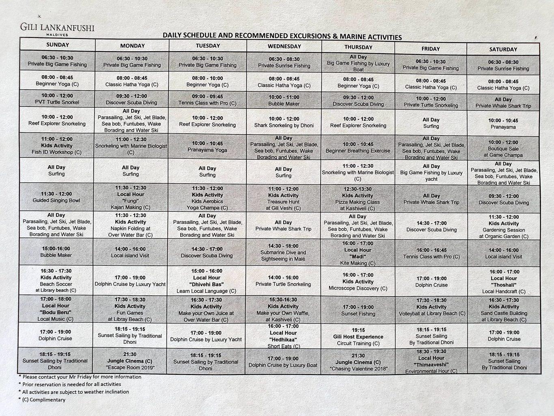 Gili Lankanfushi weekly sample schedule of activities