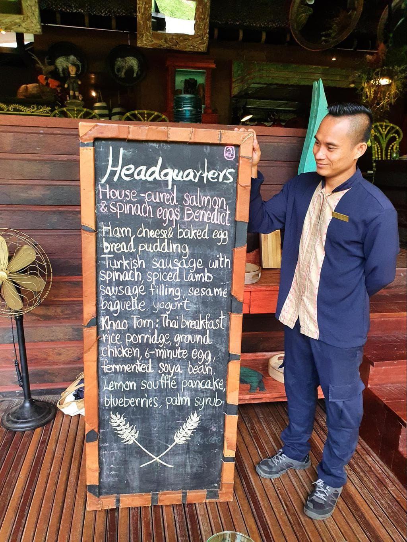Blackboard breakfast menus at Shinta Mani Wild