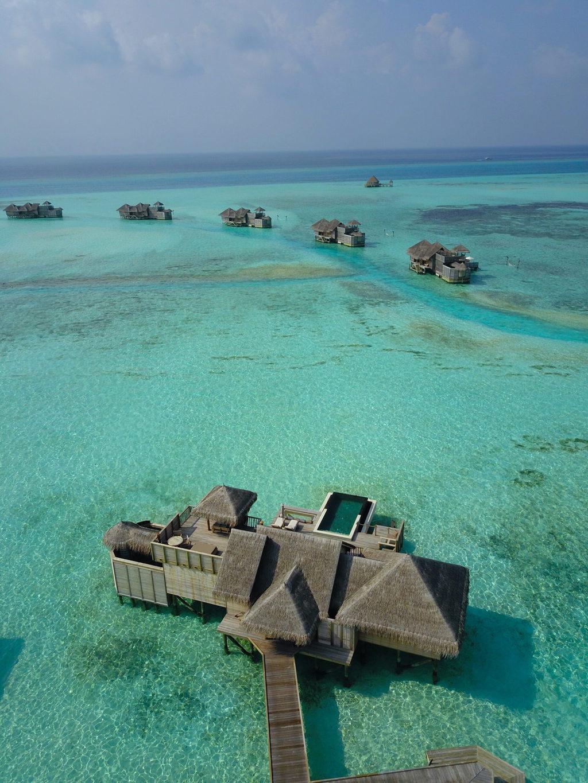 Drone shot of Gili Lankanfushi Suite Villa with pool