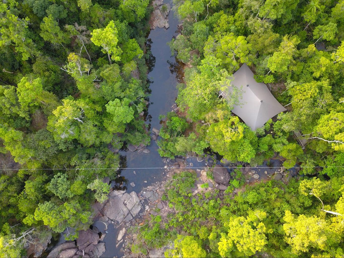 Drone view of the tents at Shinta Mani Wild