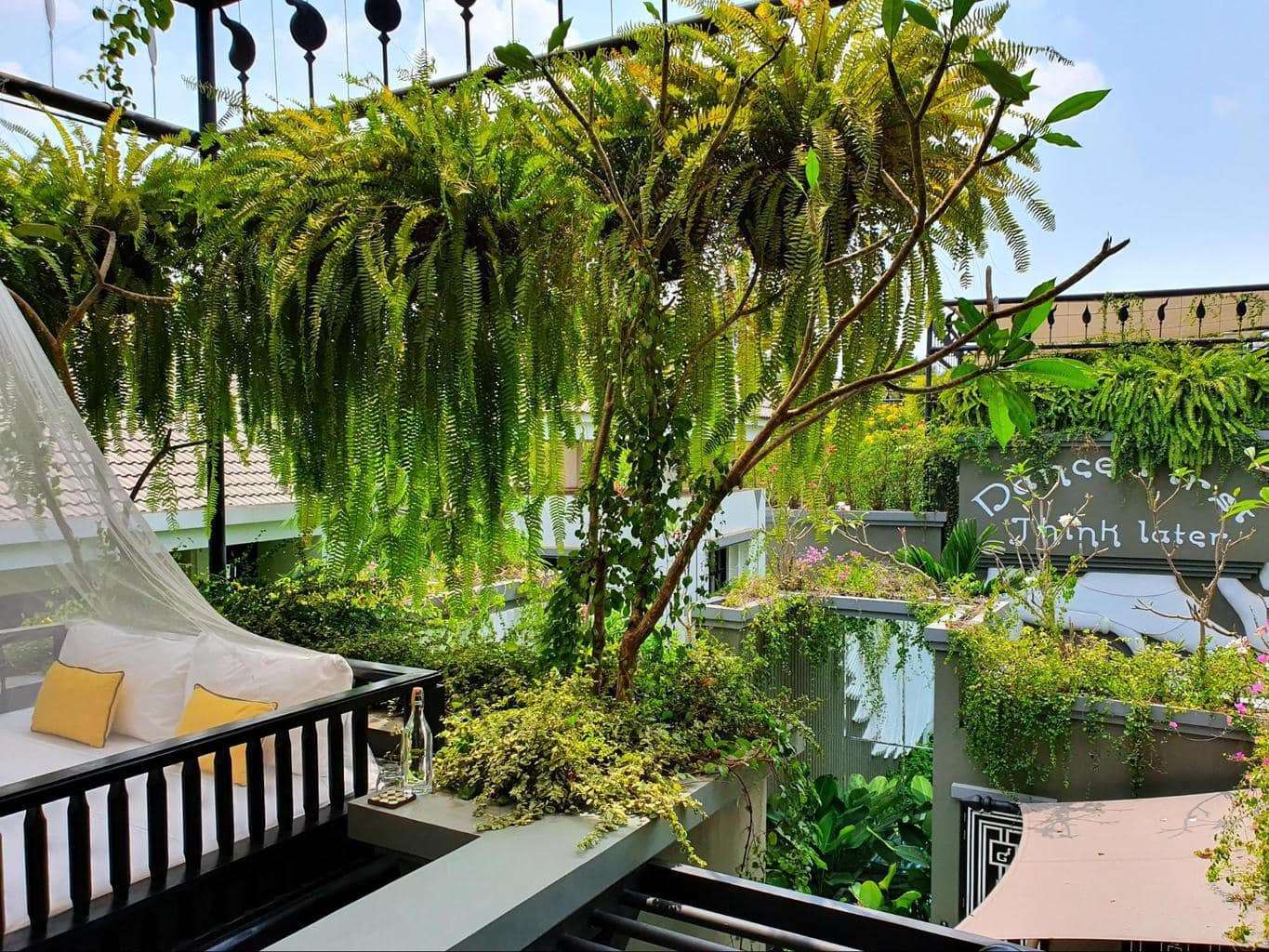 The upper floor of the private pool villas sitting area at Bensley Collection Shinta Mani Siem Reap