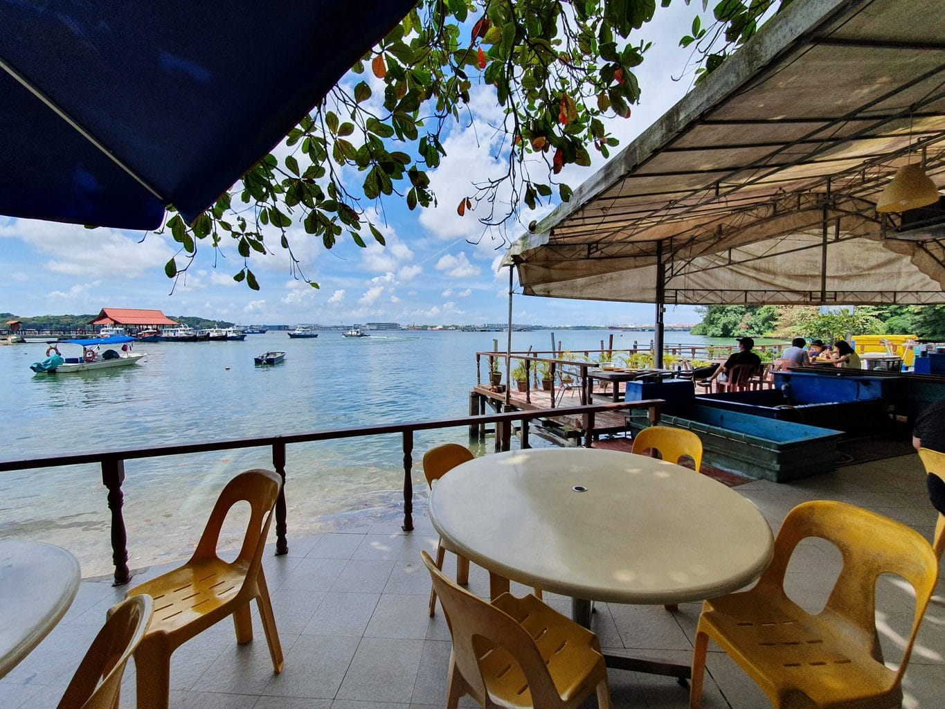 Restaurant tables on Pulau Ubin