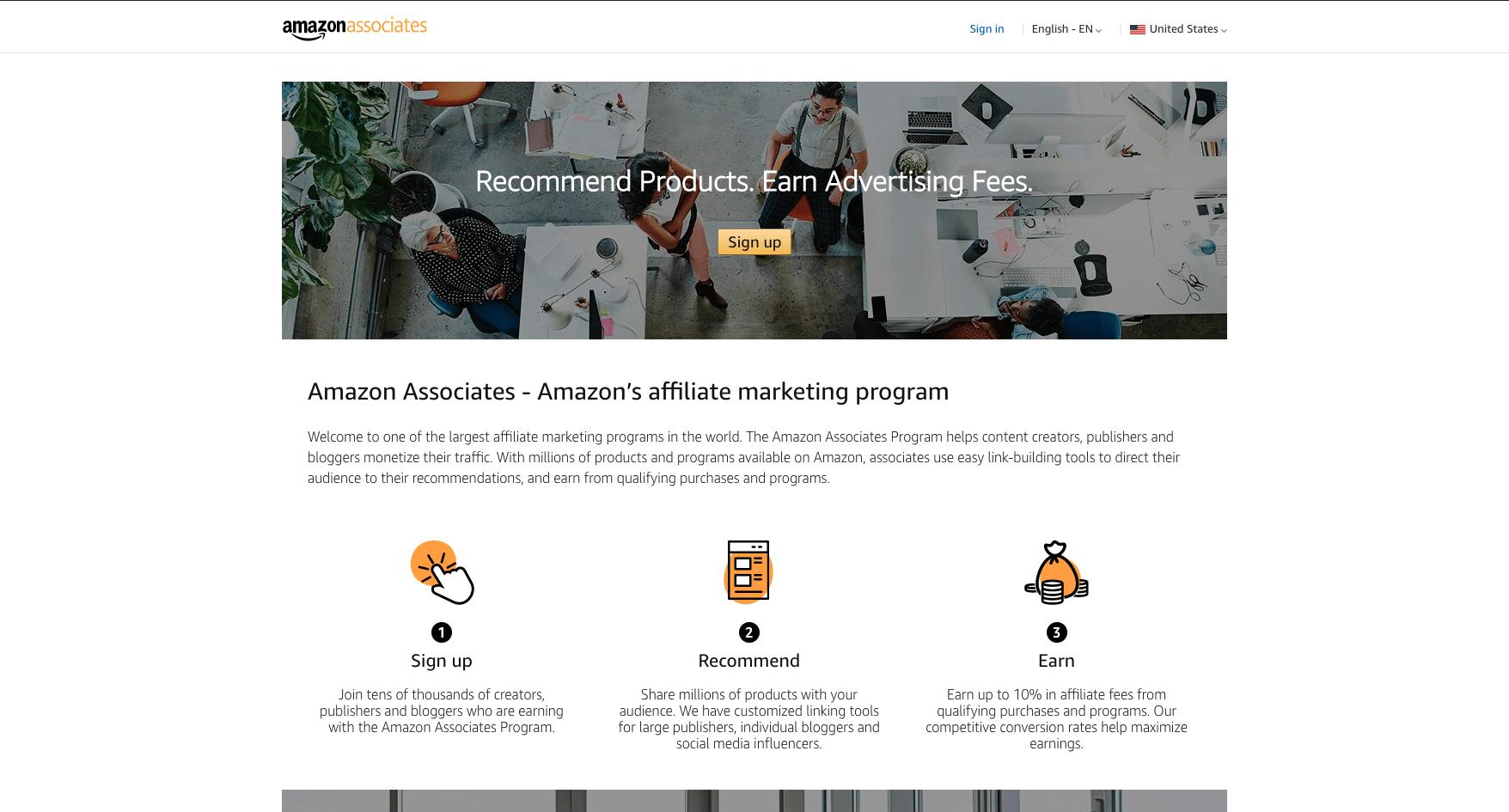 Amazon Affiliates homepage