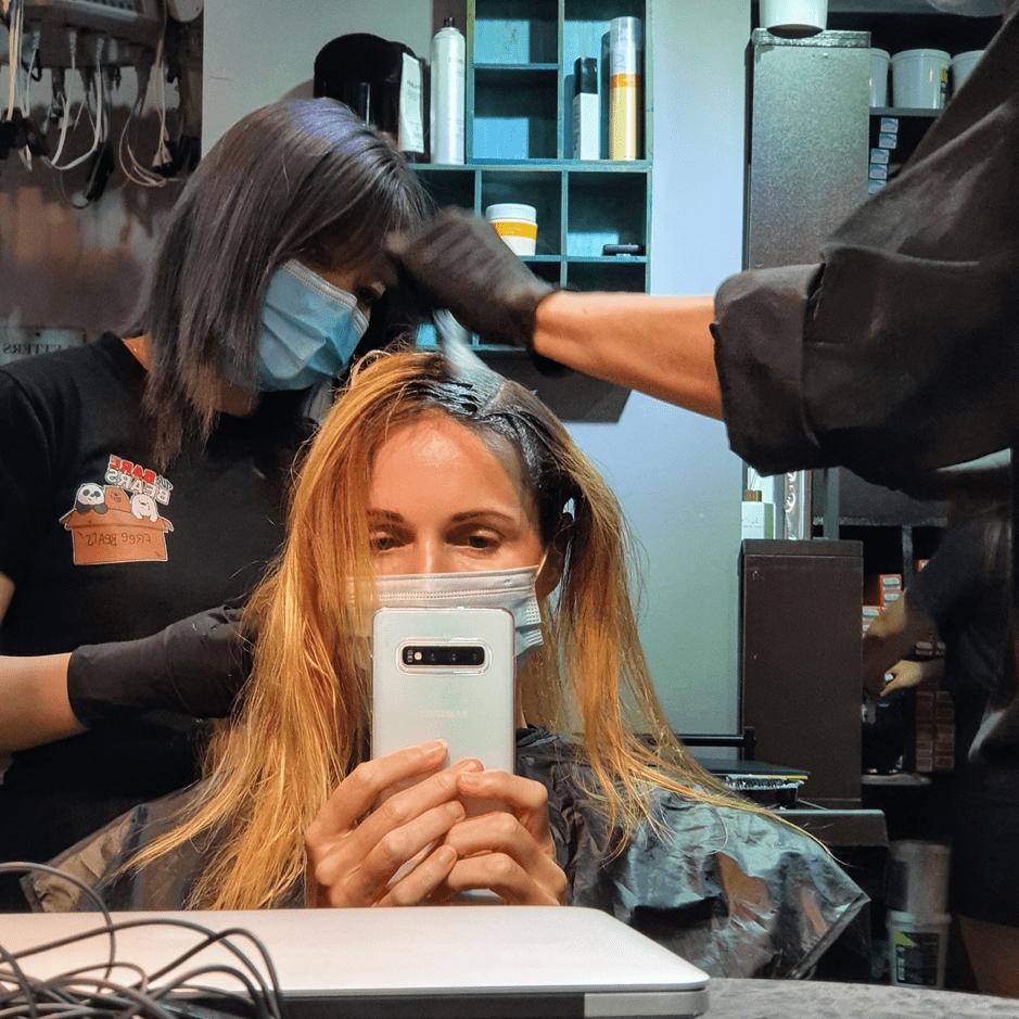 Coloring my hair at Yoon Salon Singapore