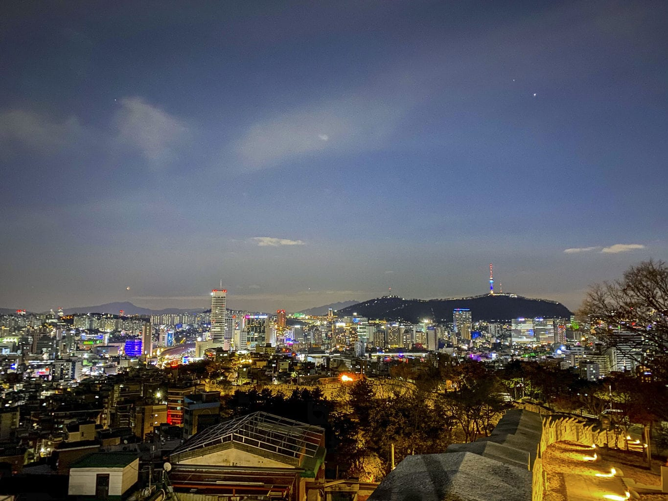 Views of downtown Seoul and Namsan from Naksan Park