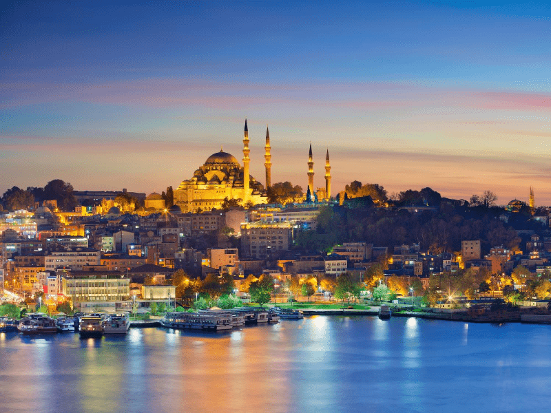 Istanbul and Hagia Sophia at sunset