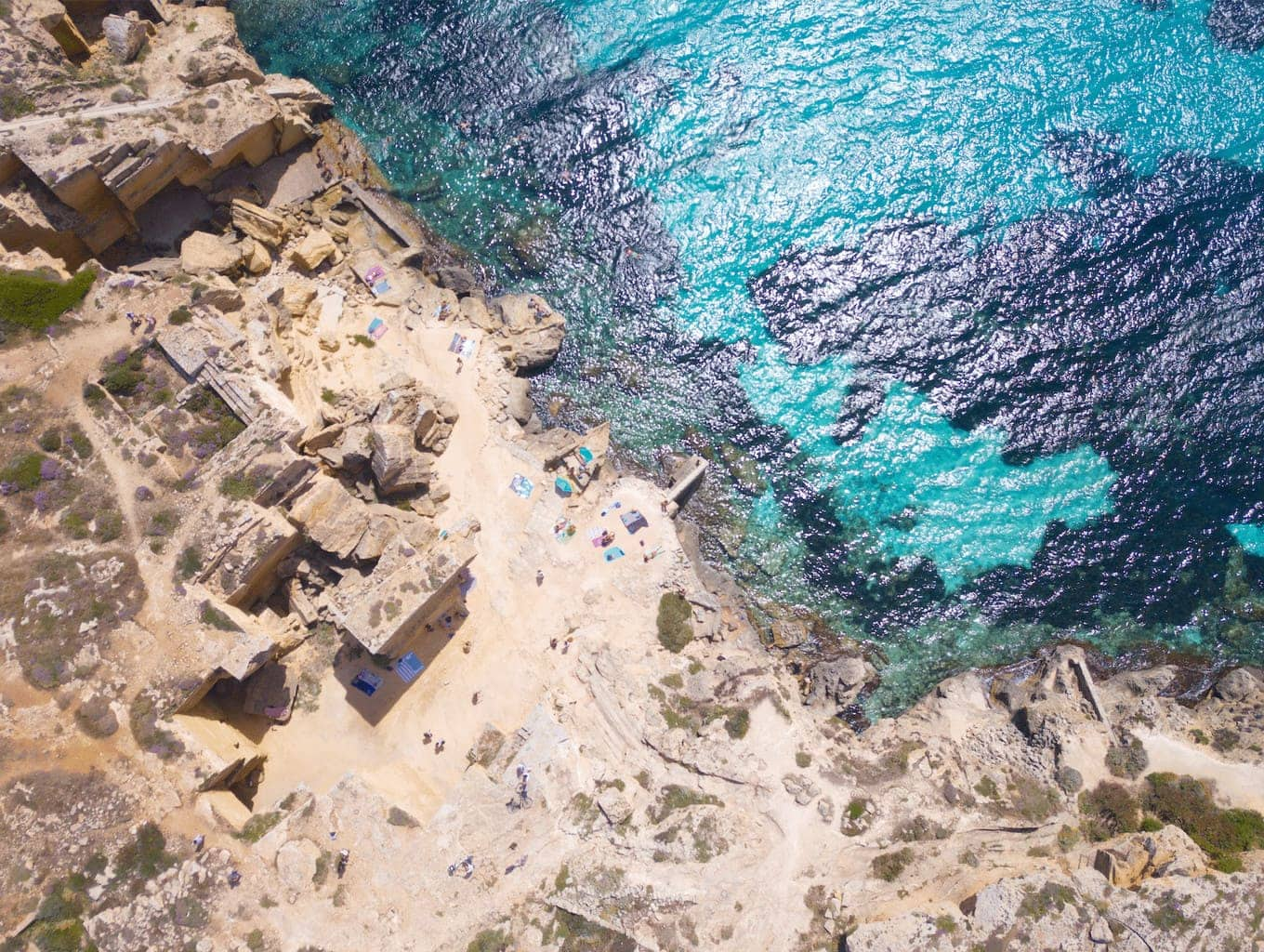 The beaches in Favignana, off Sicily